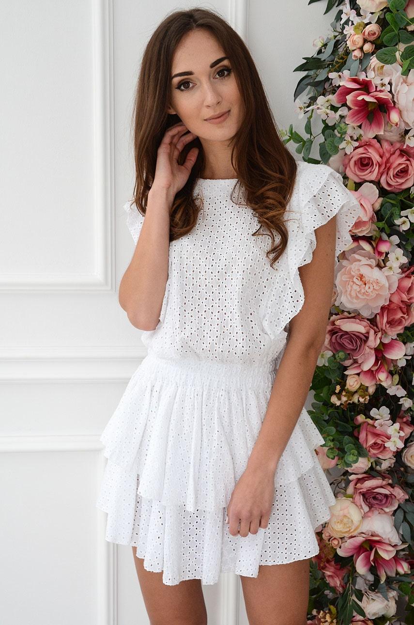 Sukienka boho haftowana z falbanami biała Pilvi Rozmiar: UNI