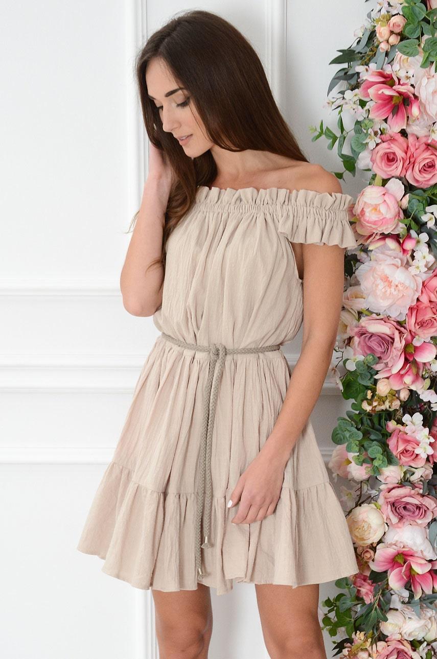 Sukienka hiszpanka oversize z falban beżowa Alme Rozmiar: UNI