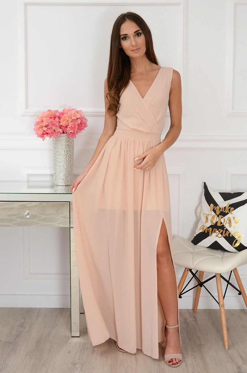 Sukienka maxi szyfonowa morelowa Lukrecja Rozmiar: XL