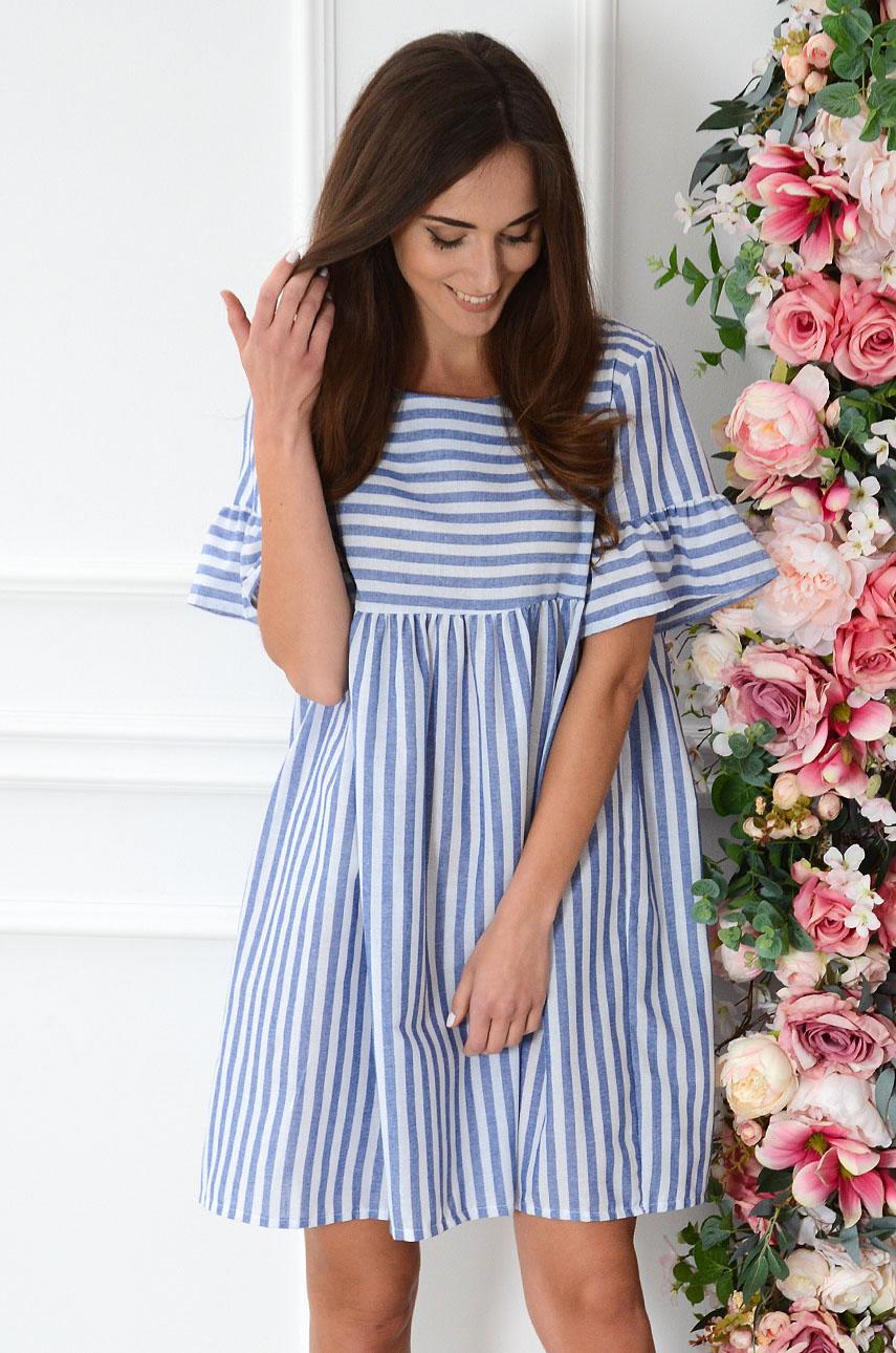 Sukienka oversize w pasy biało-niebieska Lyme Rozmiar: UNI
