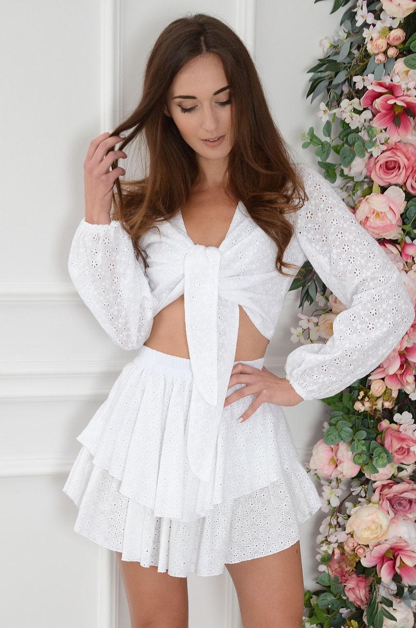 Komplet boho haftowany spódnica+top biały Cielo Rozmiar: UNI