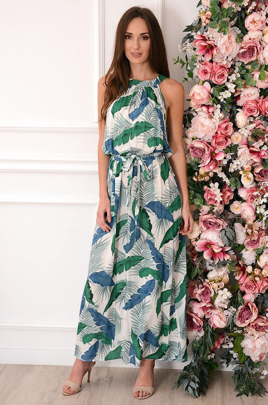 Sukienka maxi na szyję w zielono-niebieskie liście biała Rozalia Rozmiar: UNI