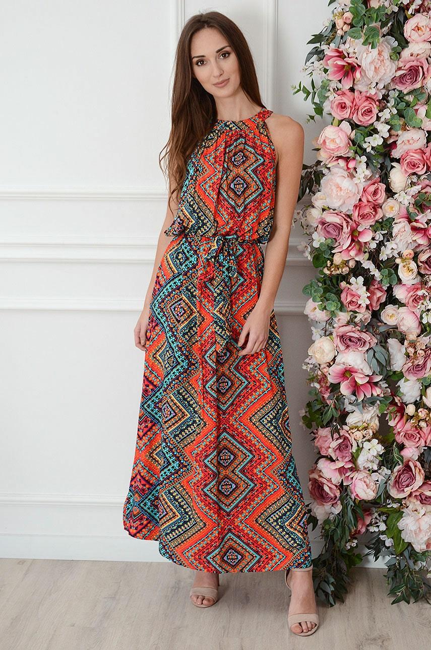 Sukienka maxi na szyję we wzory czerwona Rozalia Rozmiar: UNI