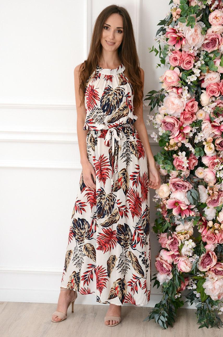 Sukienka maxi na szyję w czerwone tropikalne liście biała Rozalia Rozmiar: UNI
