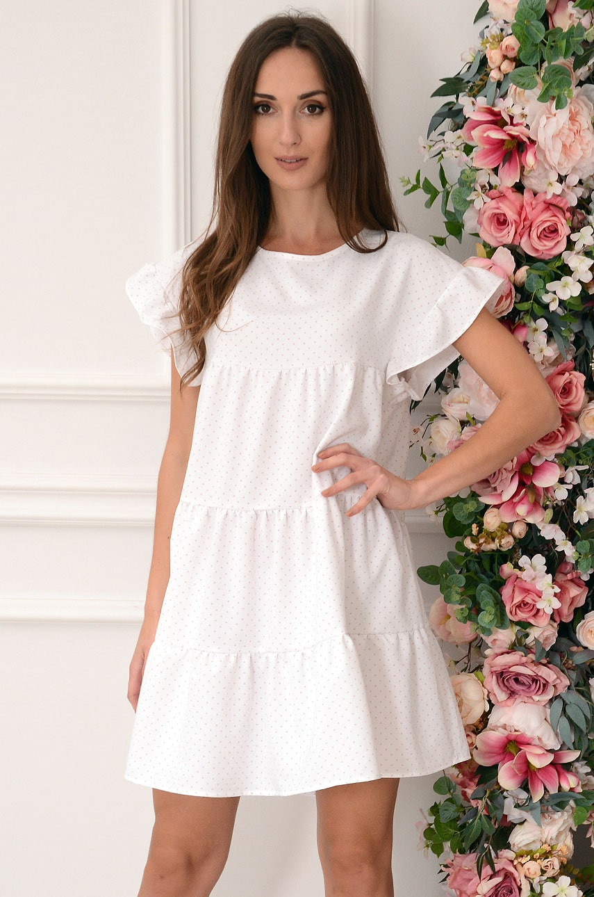 Sukienka oversize z falban w groszki biała Melville Rozmiar: UNI