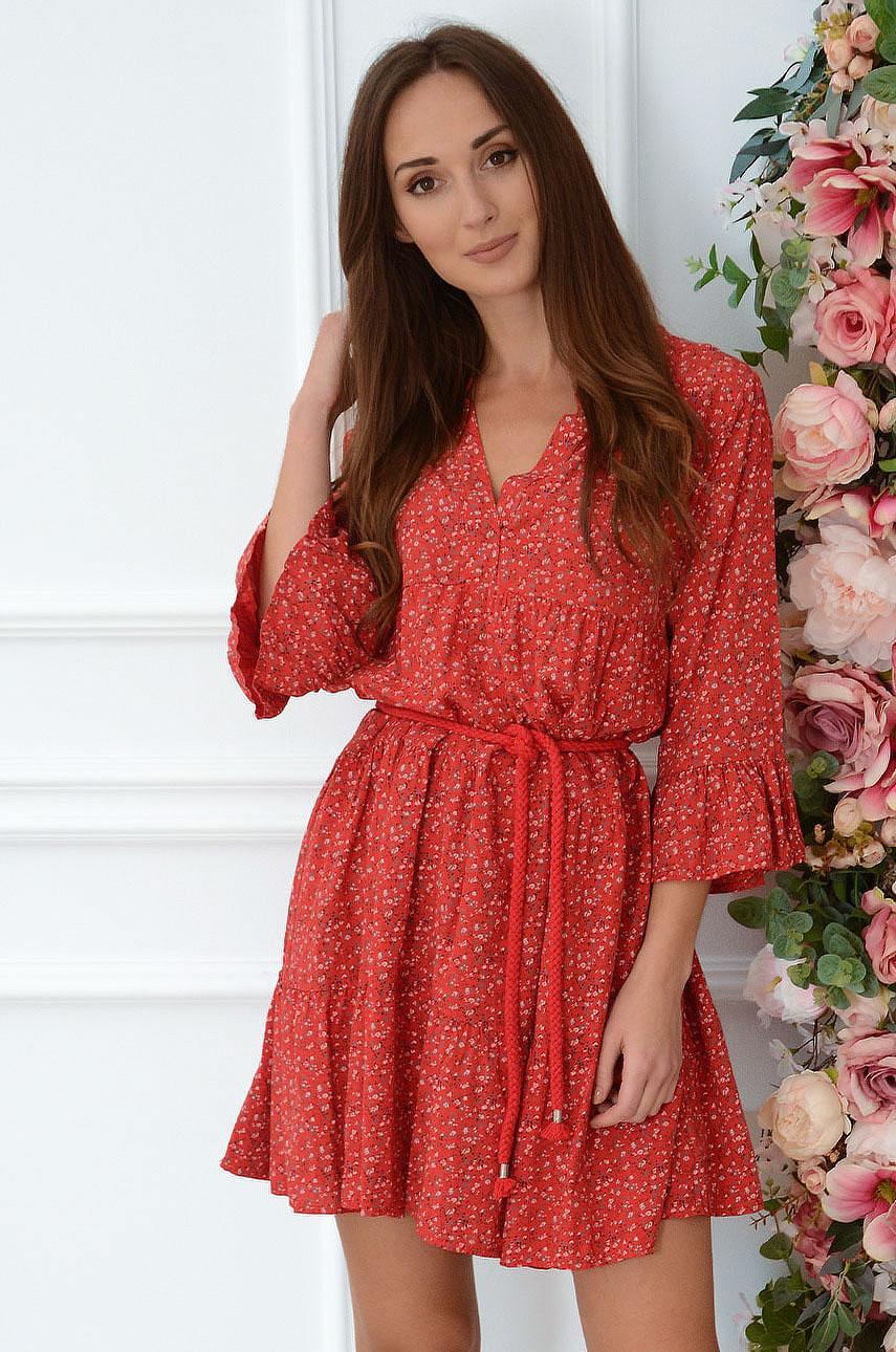 Sukienka oversize z falban w łączkę czerwona Lovi Rozmiar: UNI