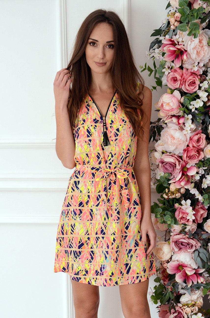 Sukienka z suwakiem geometric multicolor neon Serwina Rozmiar: UNI