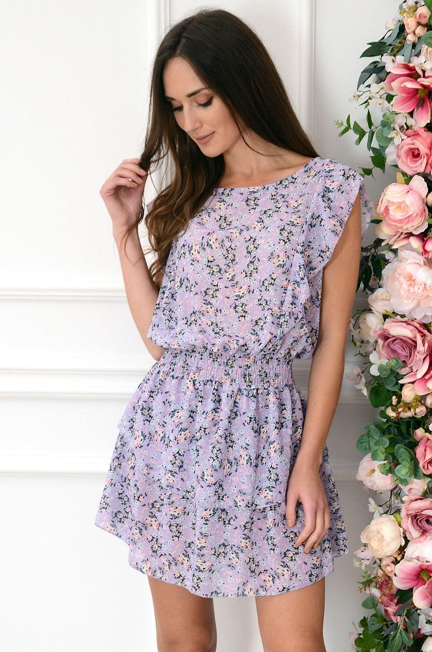 Sukienka szyfonowa z pęknięciem w łączkę liliowa Tamara Rozmiar: UNI
