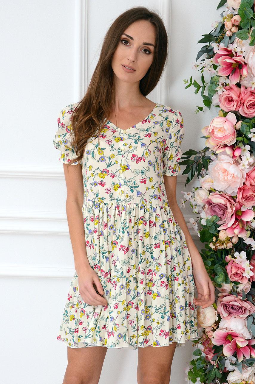 Sukienka oversize w łączkę jasny beż Sabrina Rozmiar: XL