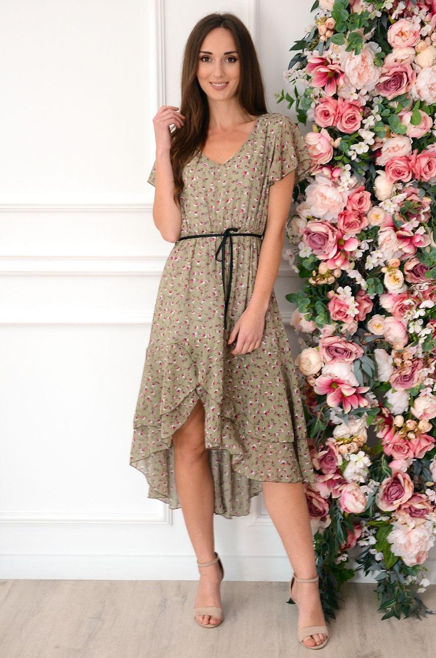 Sukienka asymetryczna z paskiem i falbaną w kwiaty khaki Parla Rozmiar: M