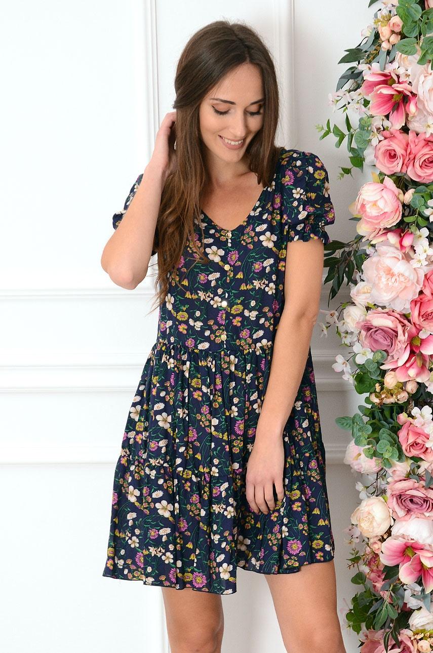 Sukienka oversize w łączkę granat Sabrina Rozmiar: L