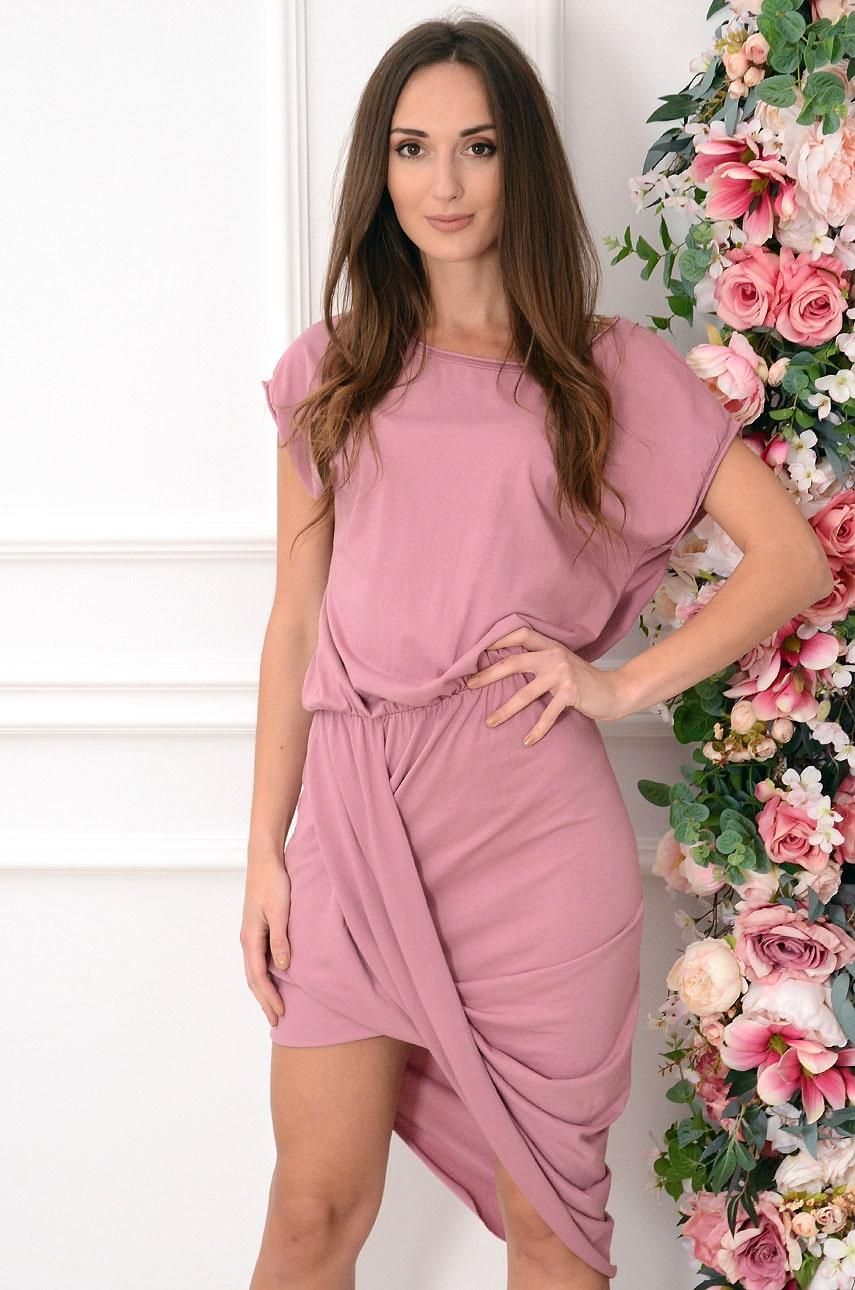 Sukienka asymetryczna z zakładką jagodowa Aida Rozmiar: UNI