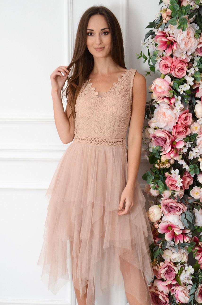 Sukienka z tiulowy falban z koronką brudny róż Nikka Rozmiar: L