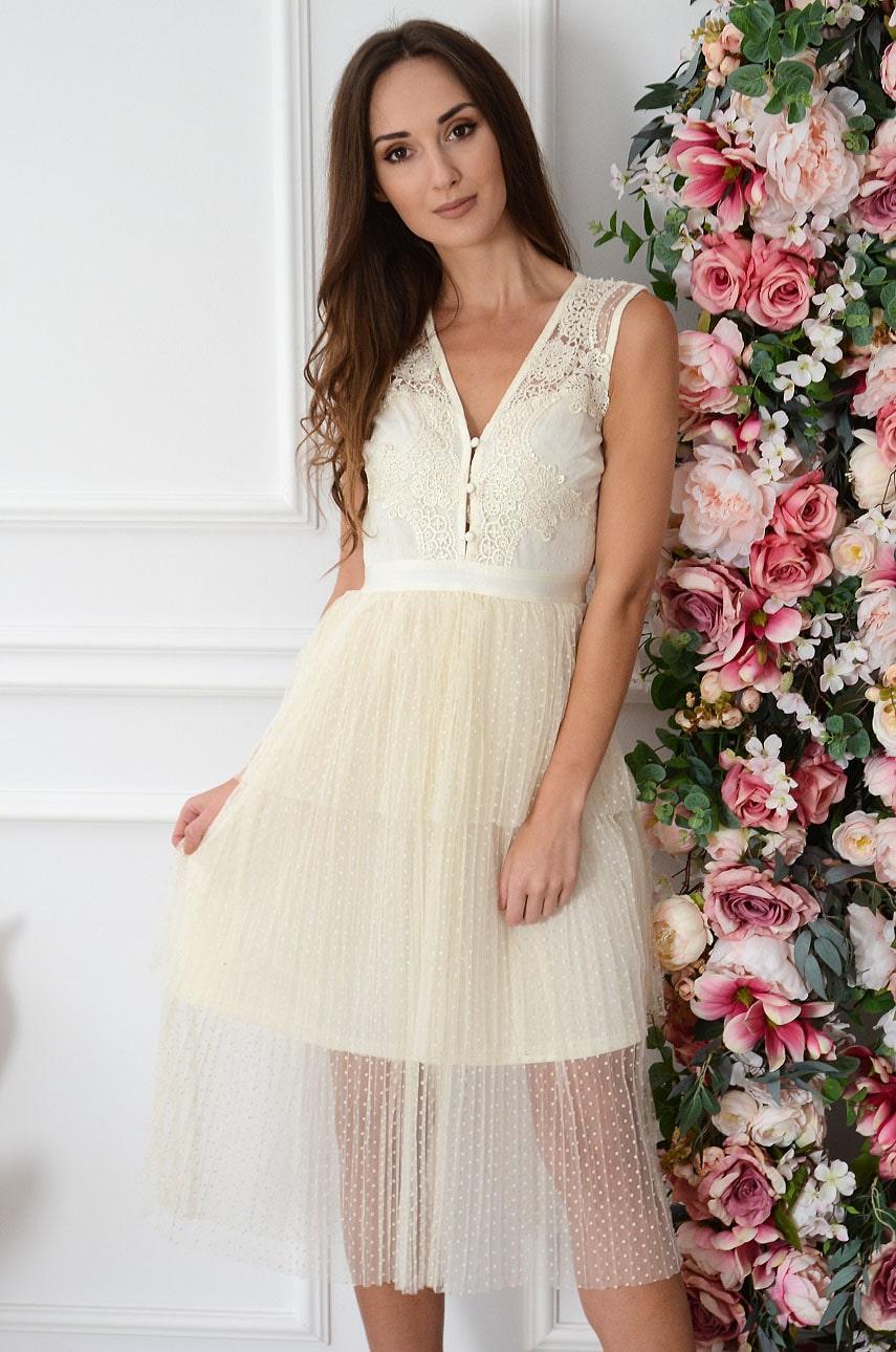 Sukienka midi z tiulowych falban z koronką jasny beż Olenna Rozmiar: S