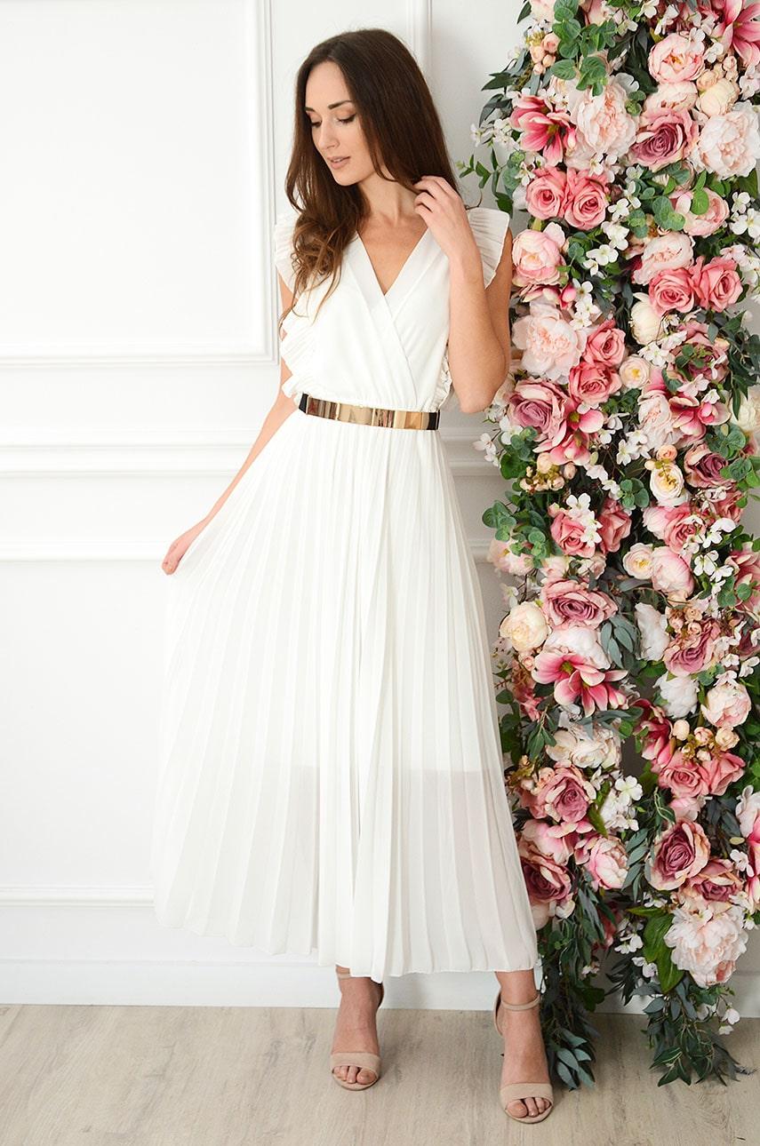 Sukienka maxi plisowana z falbankami kremowa Verda Rozmiar: UNI