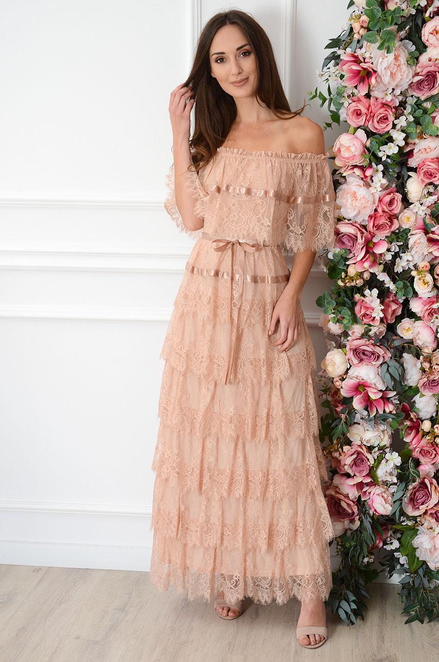 Sukienka maxi hiszpanka z koronkowych falban brudny róż Luzia Rozmiar: S