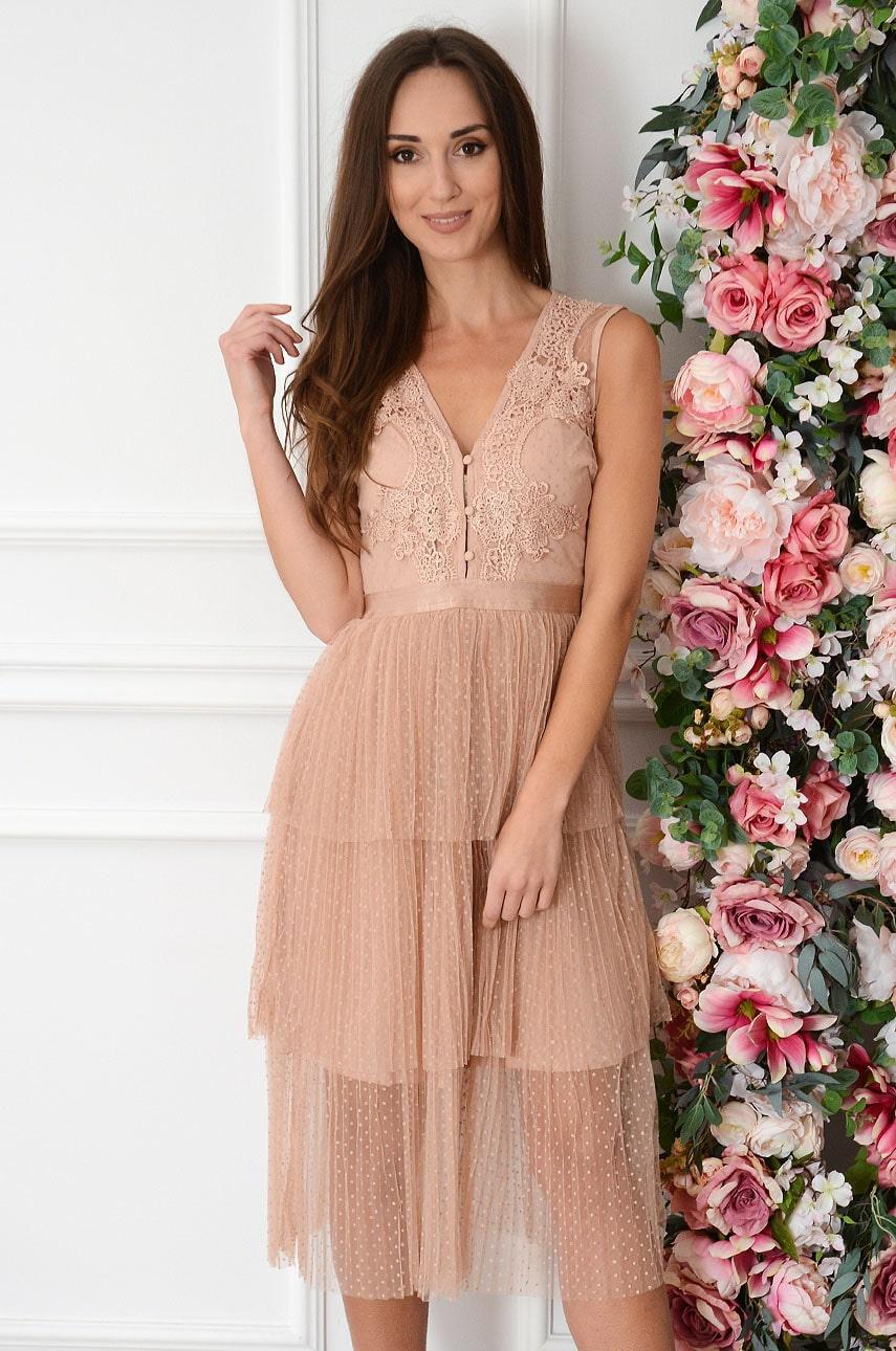 Sukienka midi z tiulowych falban z koronką brudny róż Olenna Rozmiar: M