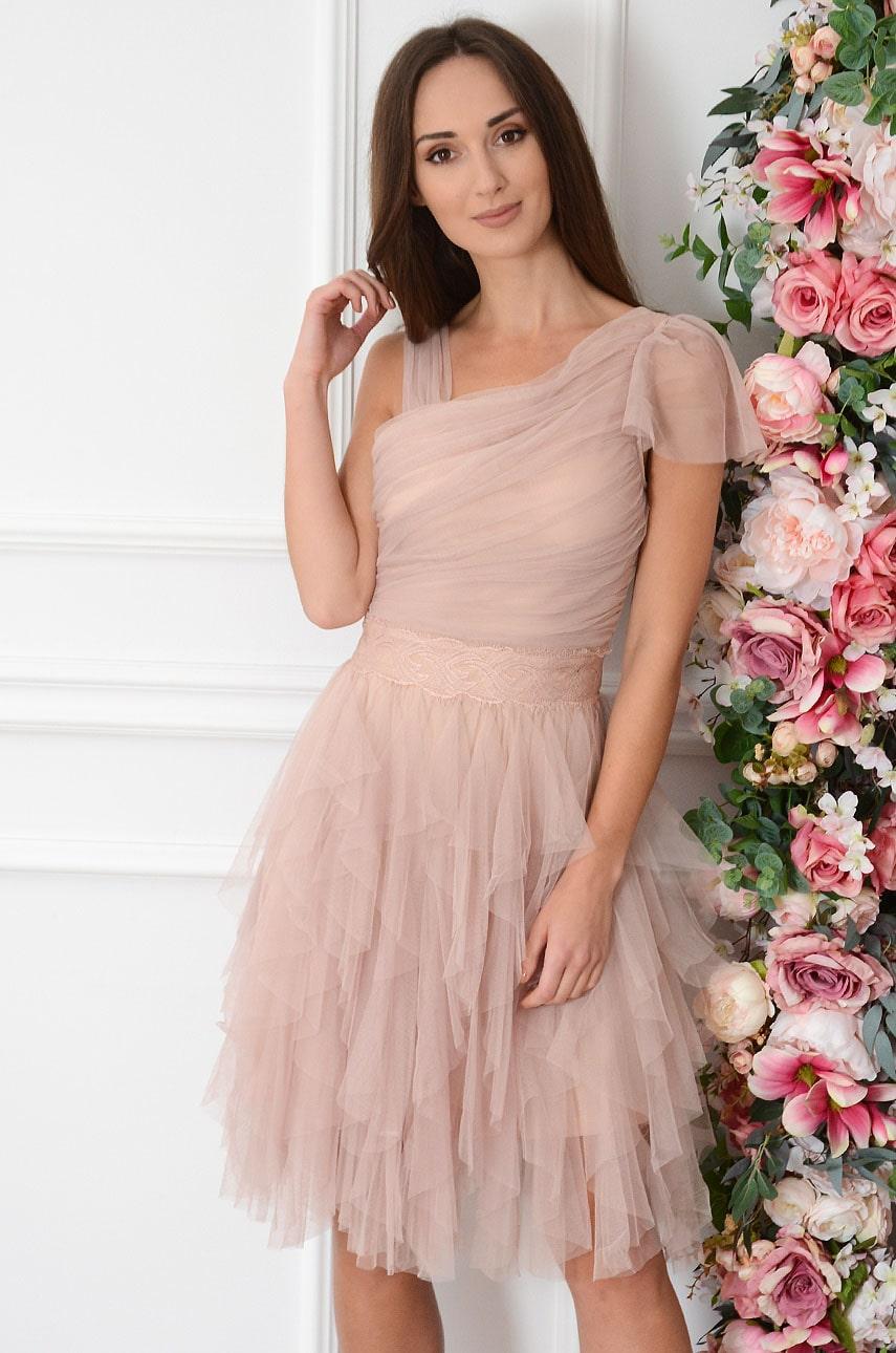 Sukienka z tiulowych falban z marszczeniem i koronką brudny róż Tully Rozmiar: S