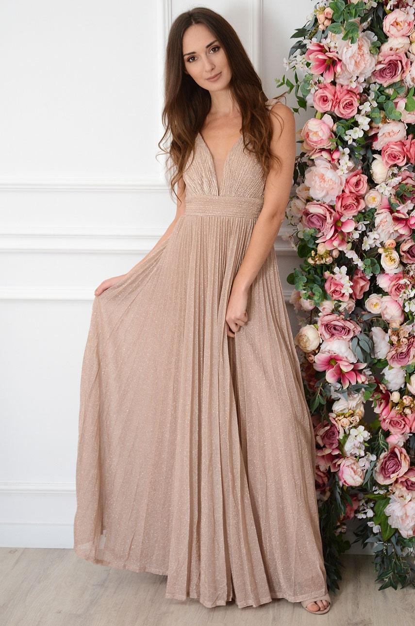 Sukienka maxi błyszcząca plisowana różowe złoto Asha Rozmiar: L