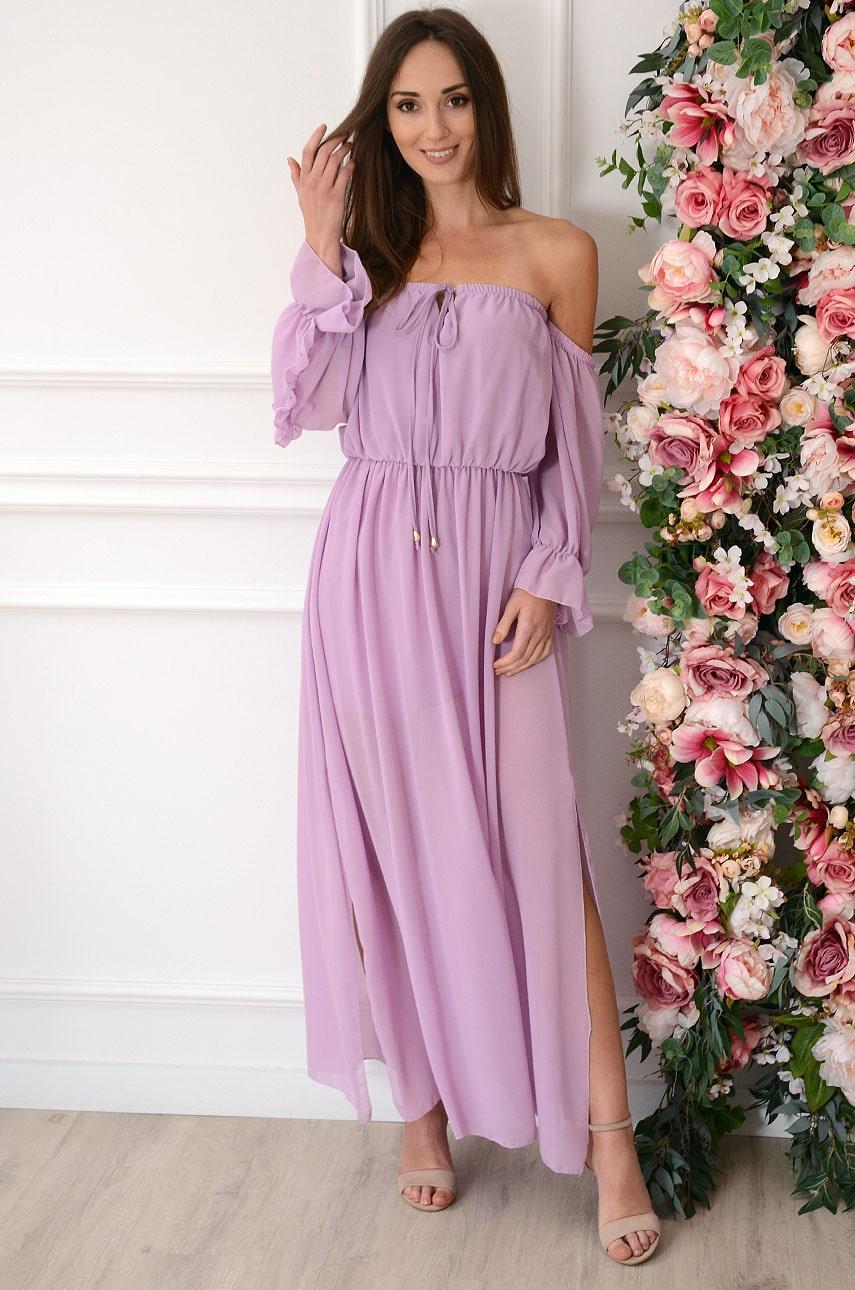 Sukienka maxi hiszpanka z falbanką liliowa Nimfe Rozmiar: UNI