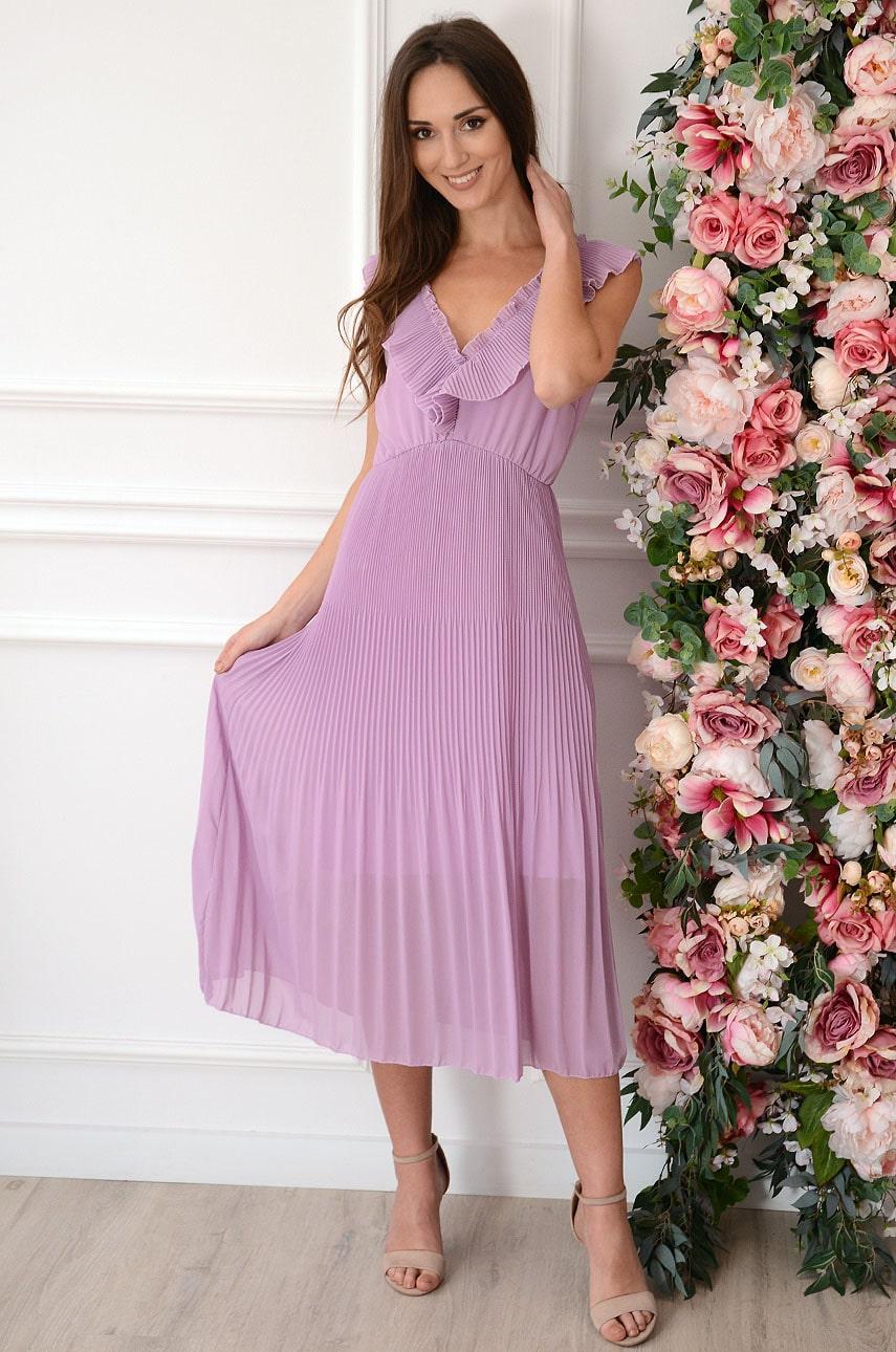 Sukienka midi plisowana podwójny dekolt V liliowa Selma Rozmiar: UNI