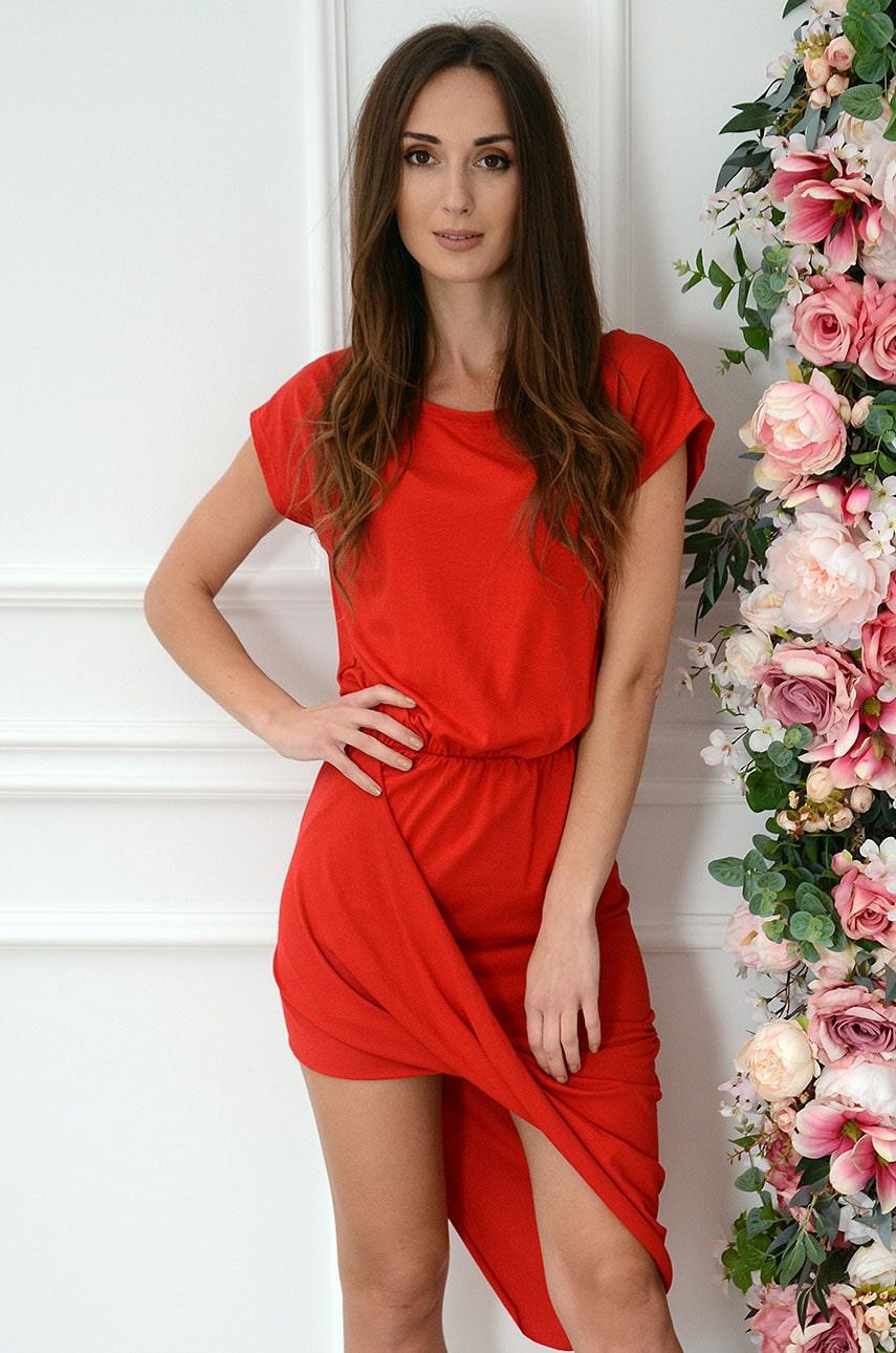 Sukienka asymetryczna z zakładką czerwona Amalia Rozmiar: UNI