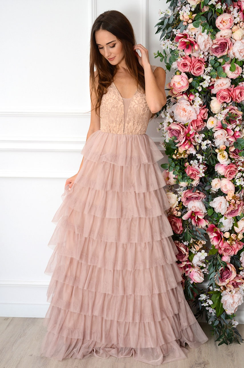 Sukienka maxi z tiulowych falban brudny róż Valerie Rozmiar: M