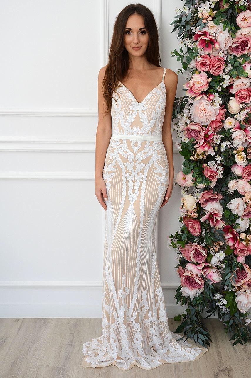 Sukienka maxi na ramiączkach z cekinami biało-beżowa Naomi Rozmiar: S