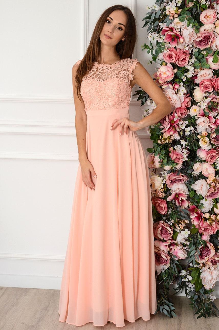 Sukienka maxi szyfonowa z koronkową górą pudrowy róż Matilde Rozmiar: M