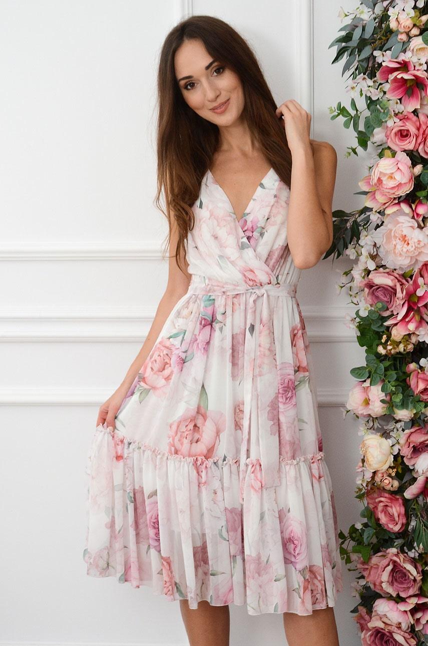 Sukienka midi szyfonowa w pudrowe piwonie biała Savine Rozmiar: S