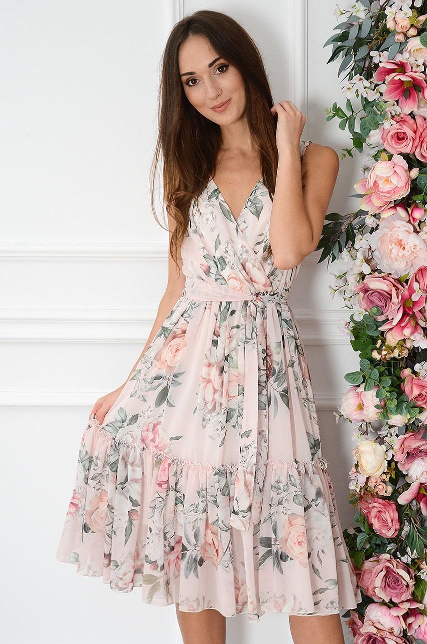 Sukienka midi szyfonowa w kwiaty pudrowy róż Savine Rozmiar: S