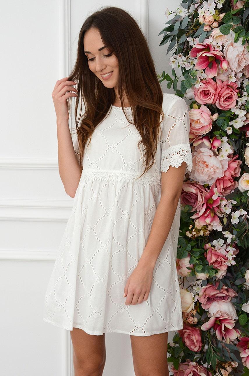 Sukienka boho oversize ażurowa z koronką w pasie Lysa Rozmiar: M/L