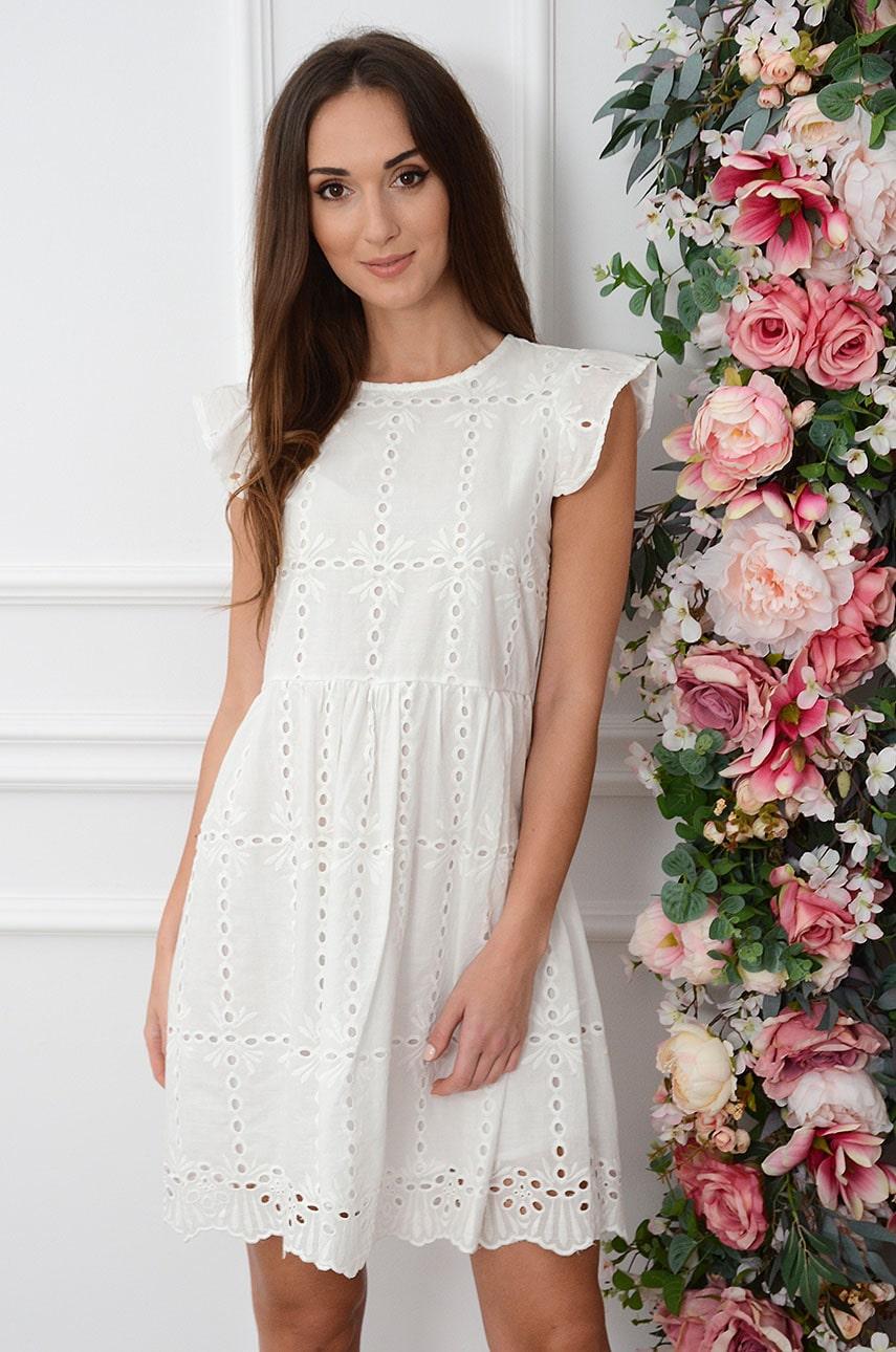 Sukienka boho haftowana kremowa Ivica Rozmiar: M/L