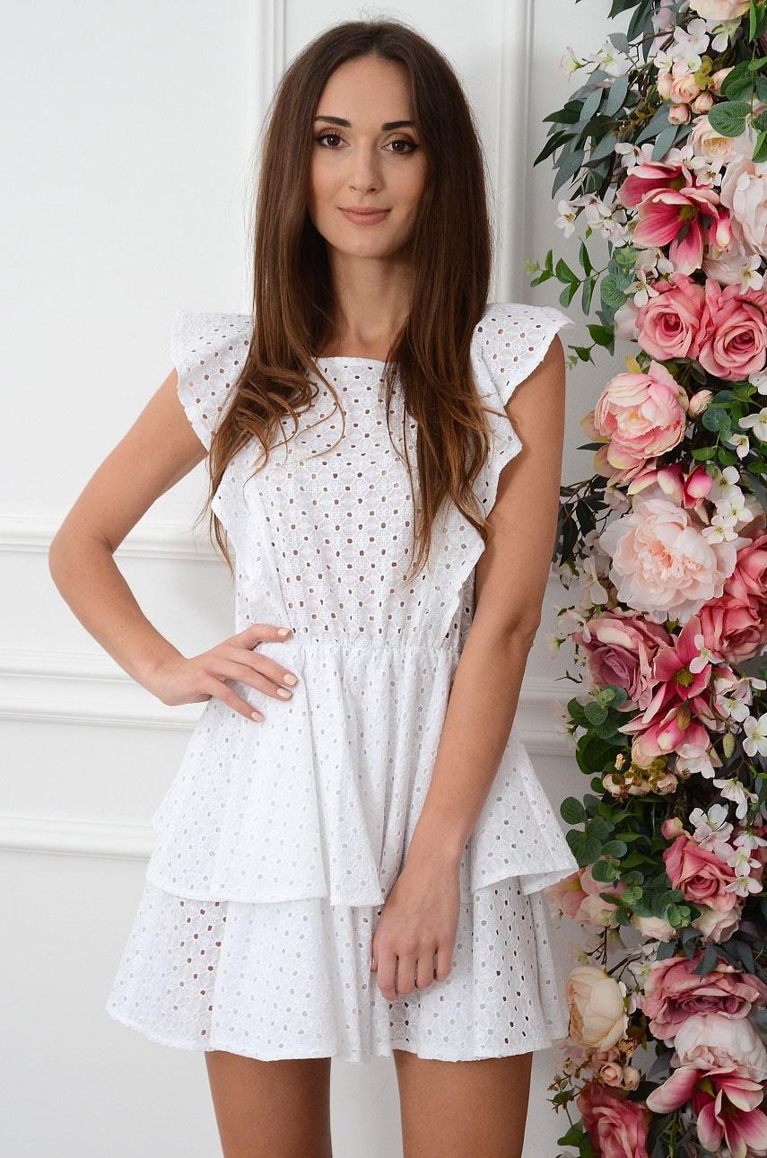 Sukienka boho ażurowe hafty z falbanami biała Alisja Rozmiar: UNI