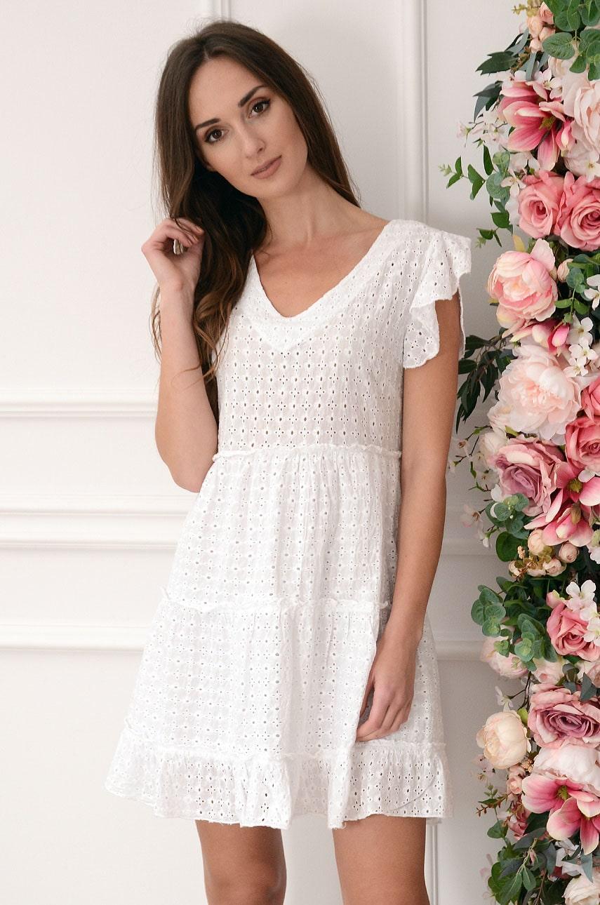 Sukienka boho haftowana z falban biała Jerna Rozmiar: UNI