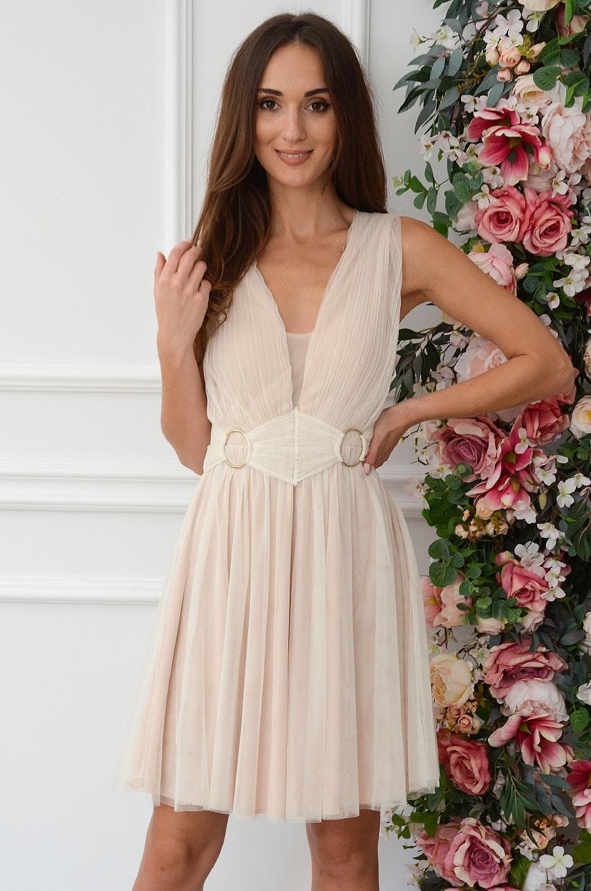 Sukienka tiulowa mini z koronką beżowa Vaneska Rozmiar: S