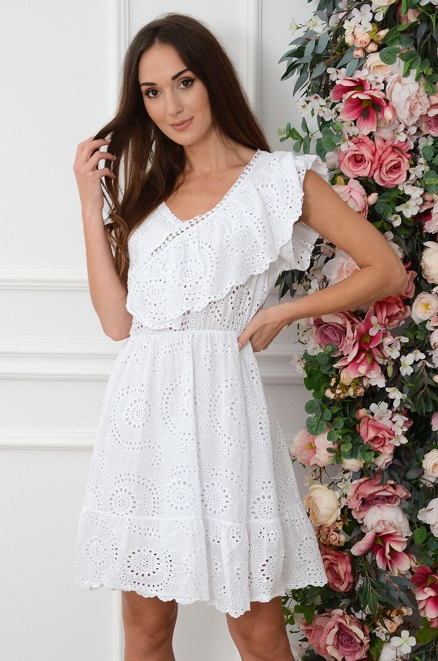 Sukienka boho skośna falbana biała Berenika Rozmiar: UNI