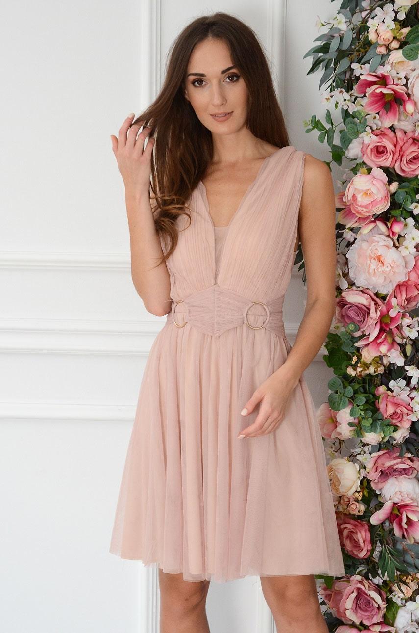 Sukienka tiulowa mini z koronką brudny róż Vaneska Rozmiar: M
