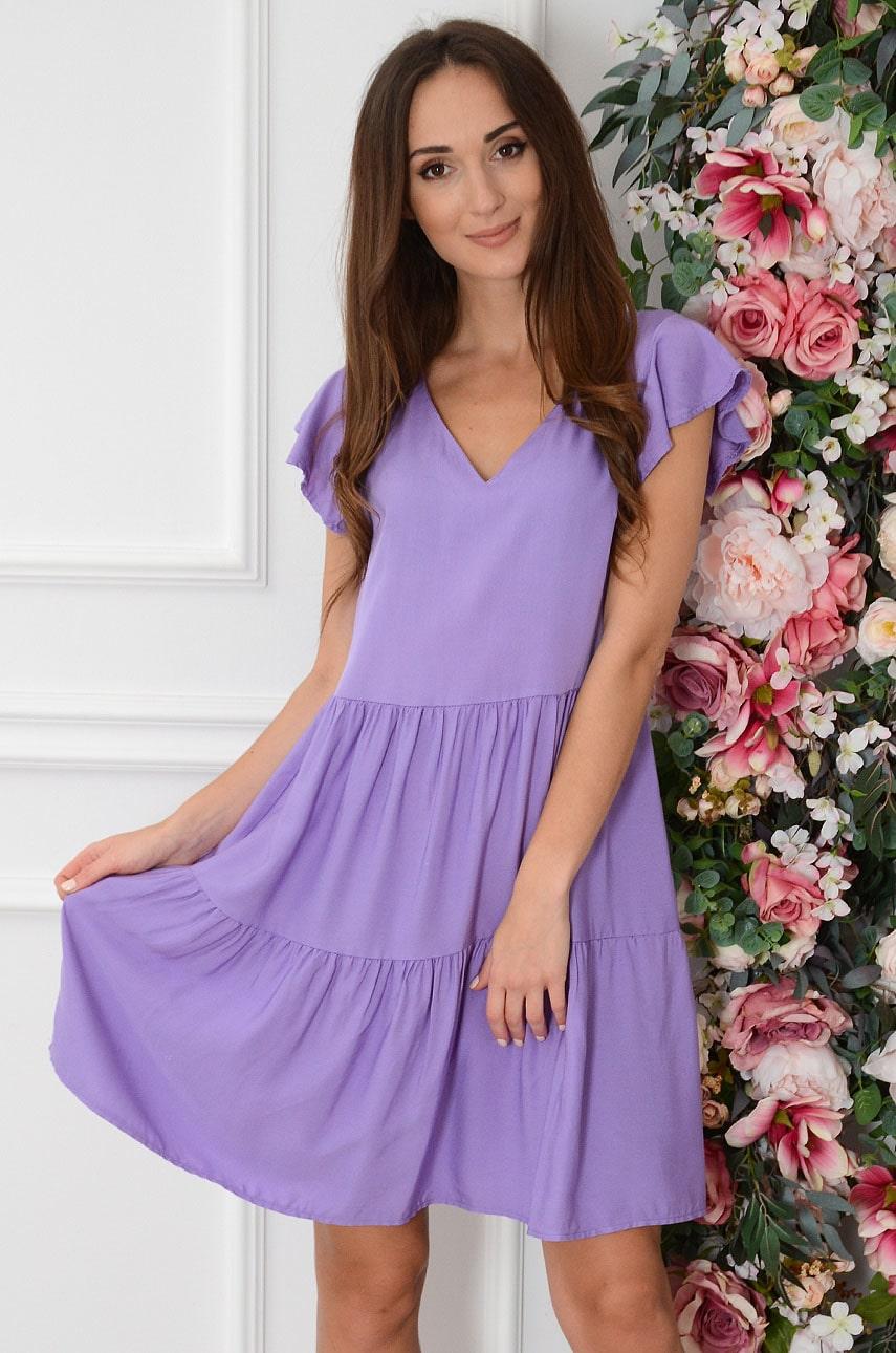 Sukienka oversize z falban fiolet Mulan Rozmiar: UNI