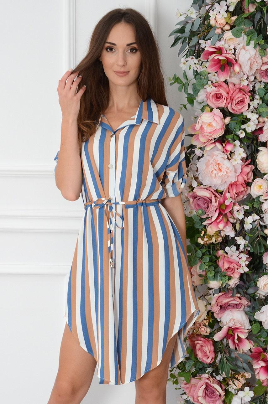 Sukienka szmizjerka w paski niebieski-kamel Anjela Rozmiar: UNI