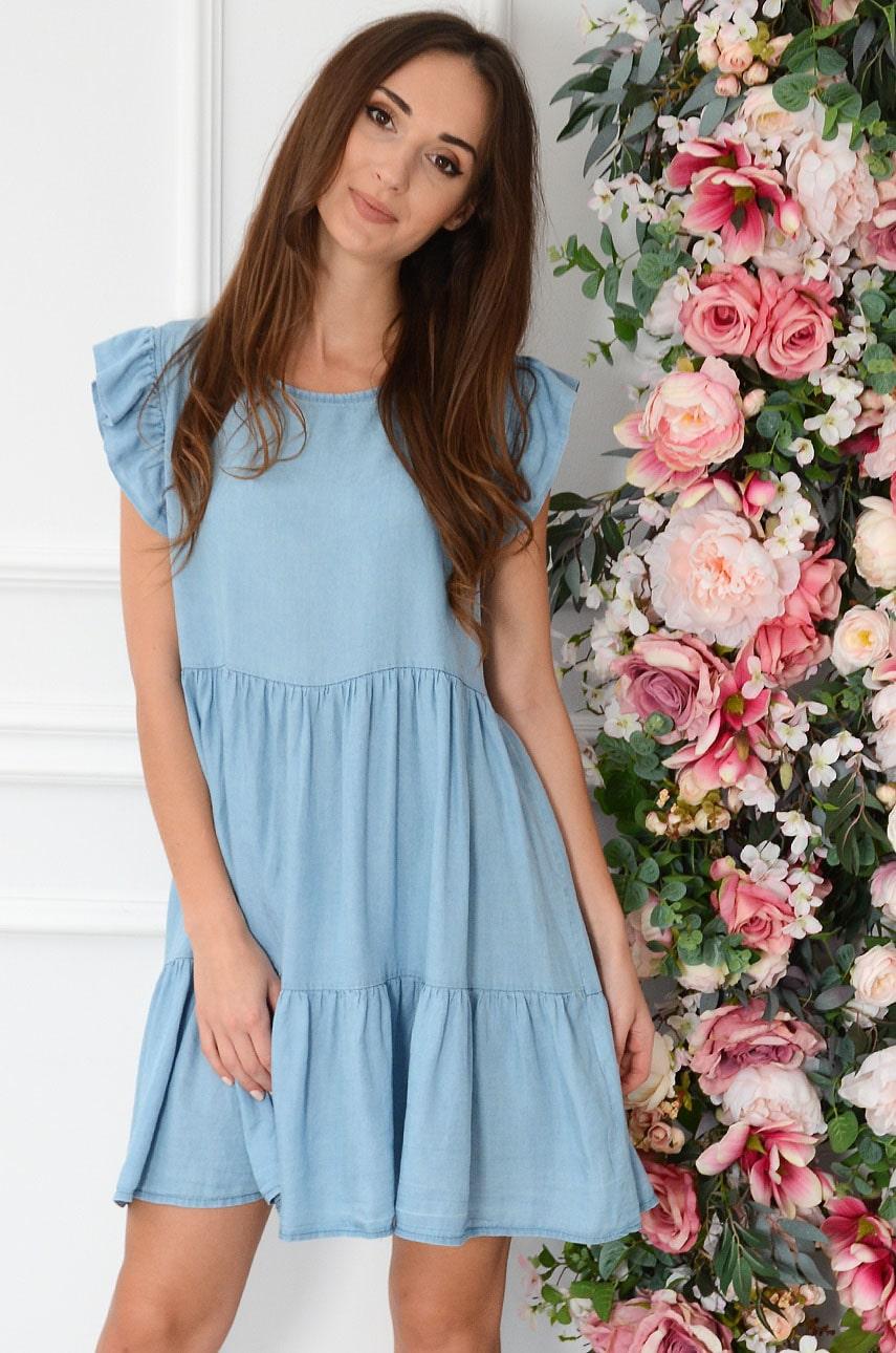 Sukienka oversize jeansowa z falban błękitna Neska Rozmiar: UNI