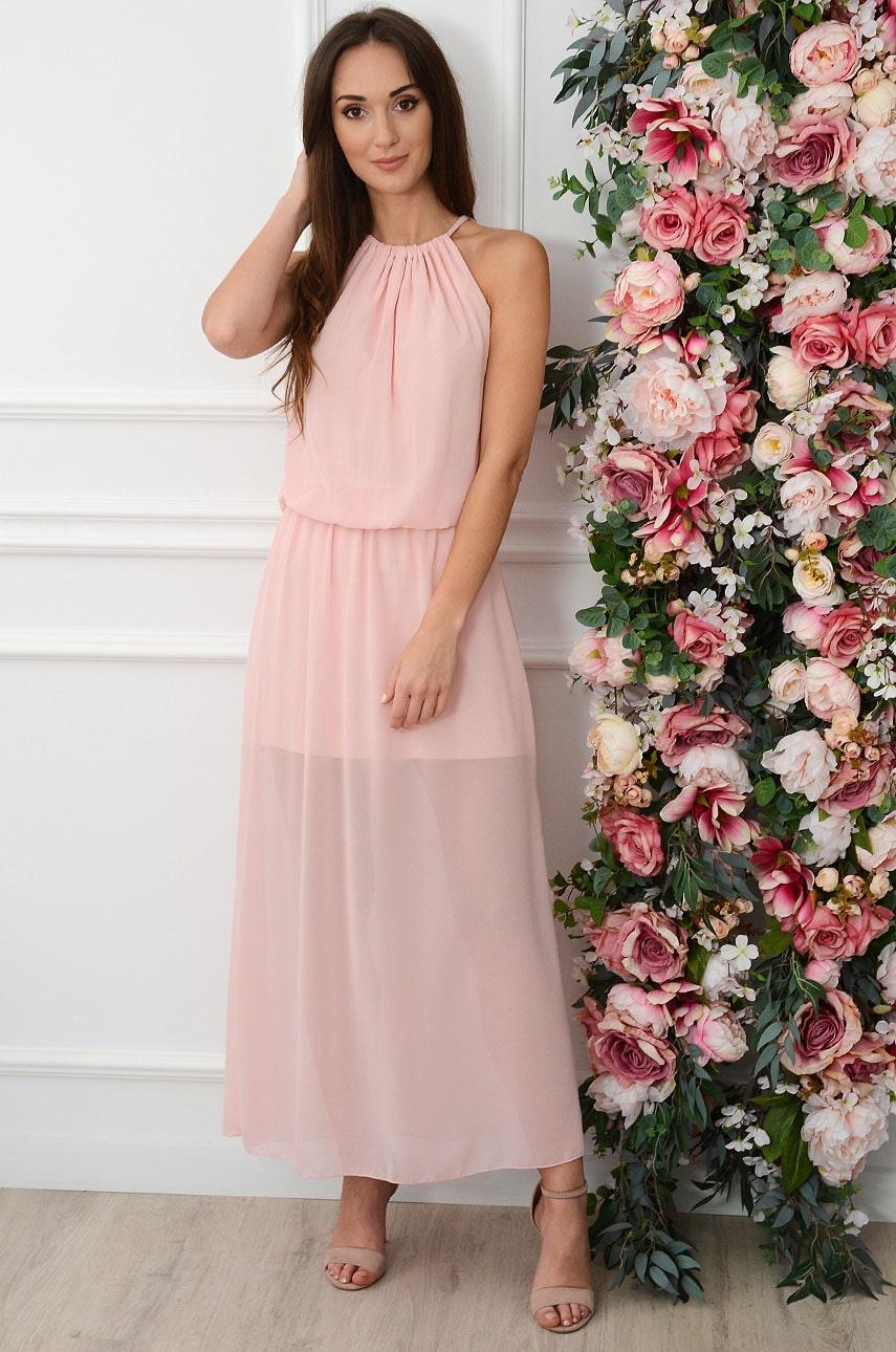 Sukienka maxi szyfonowa z pęknięciem pudrowy róż Korina Rozmiar: UNI