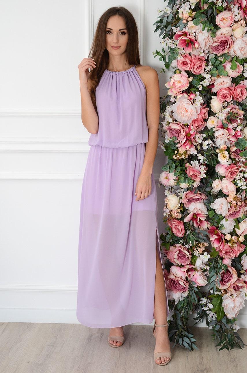 Sukienka maxi szyfonowa z pęknięciem liliowa Korina Rozmiar: UNI