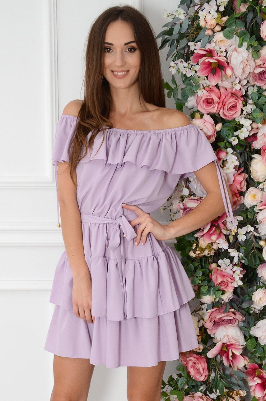 Sukienka hiszpanka bez rękawów lawendowa Margo Rozmiar: UNI