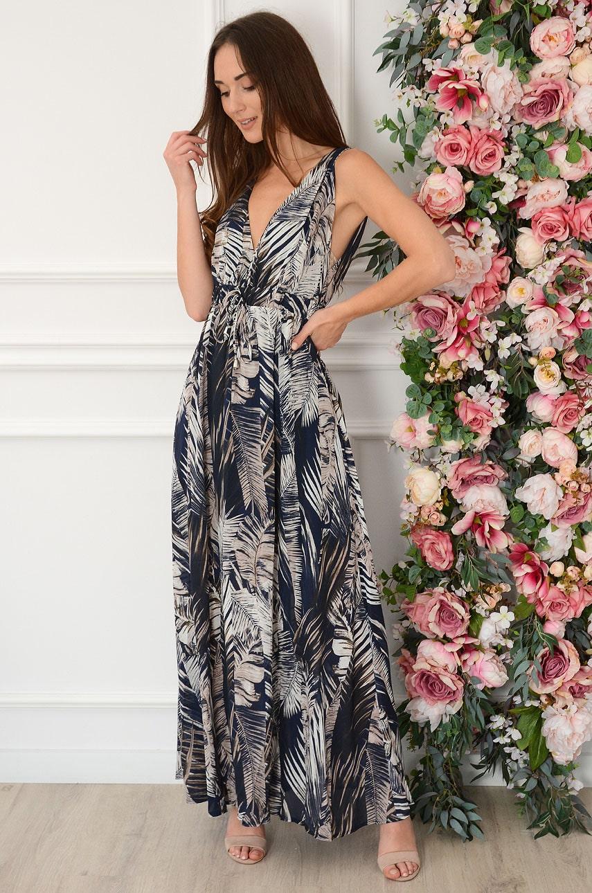 Sukienka maxi w tropikalne liście granat Klara Rozmiar: L