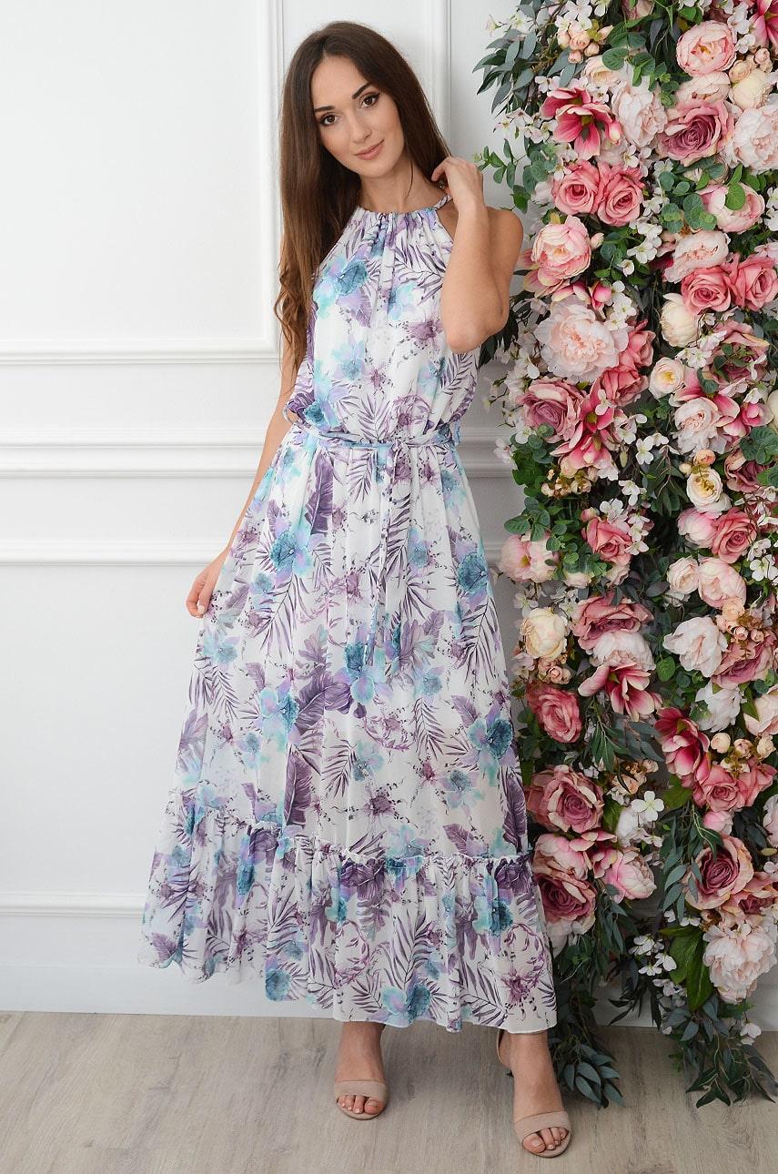 Sukienka maxi szyfonowa w tropikalny wzór biało-fioletowa Camile Rozmiar: UNI