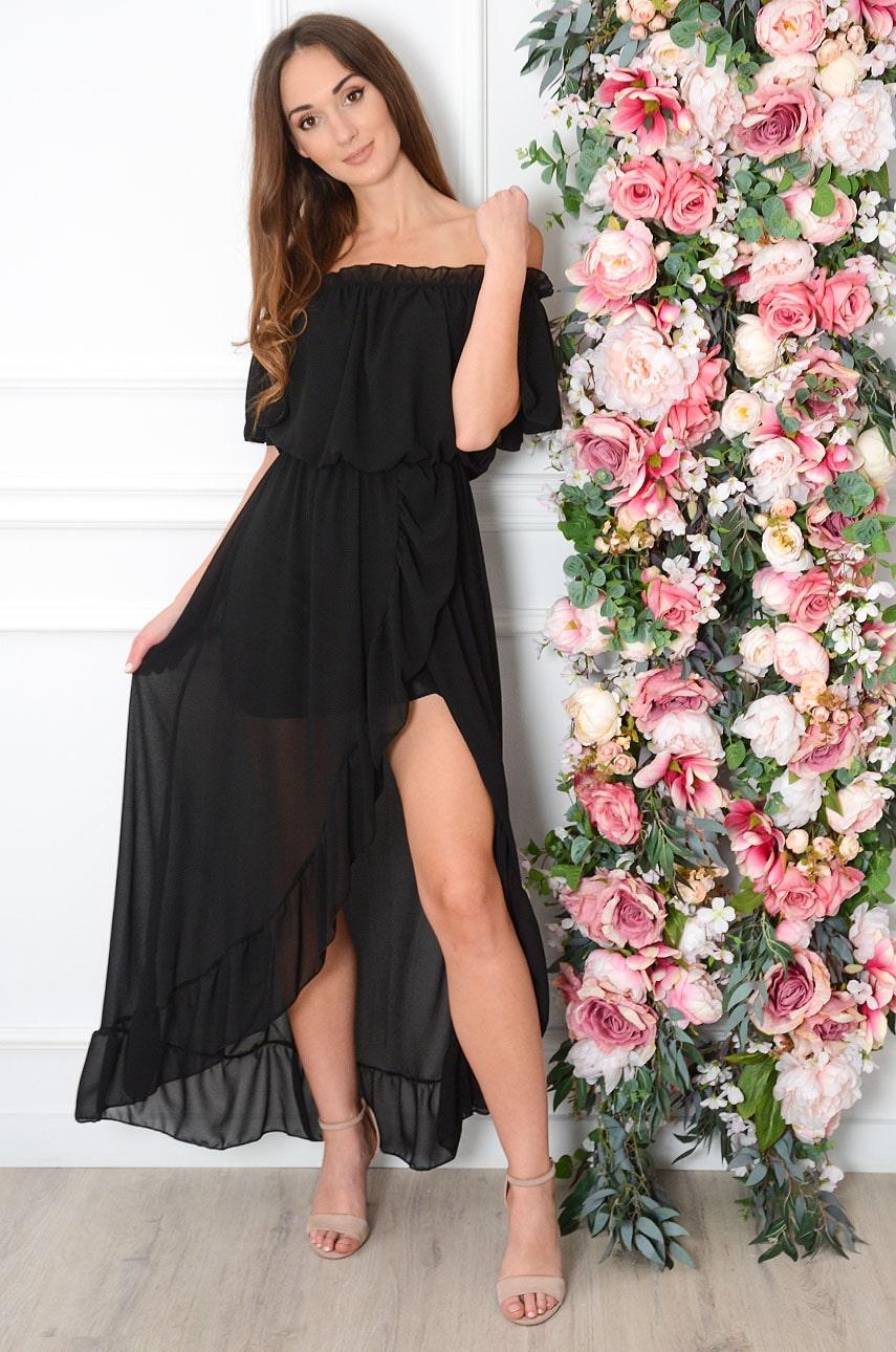 Sukienka maxi hiszpanka szyfonowa czarna Alzona Rozmiar: UNI