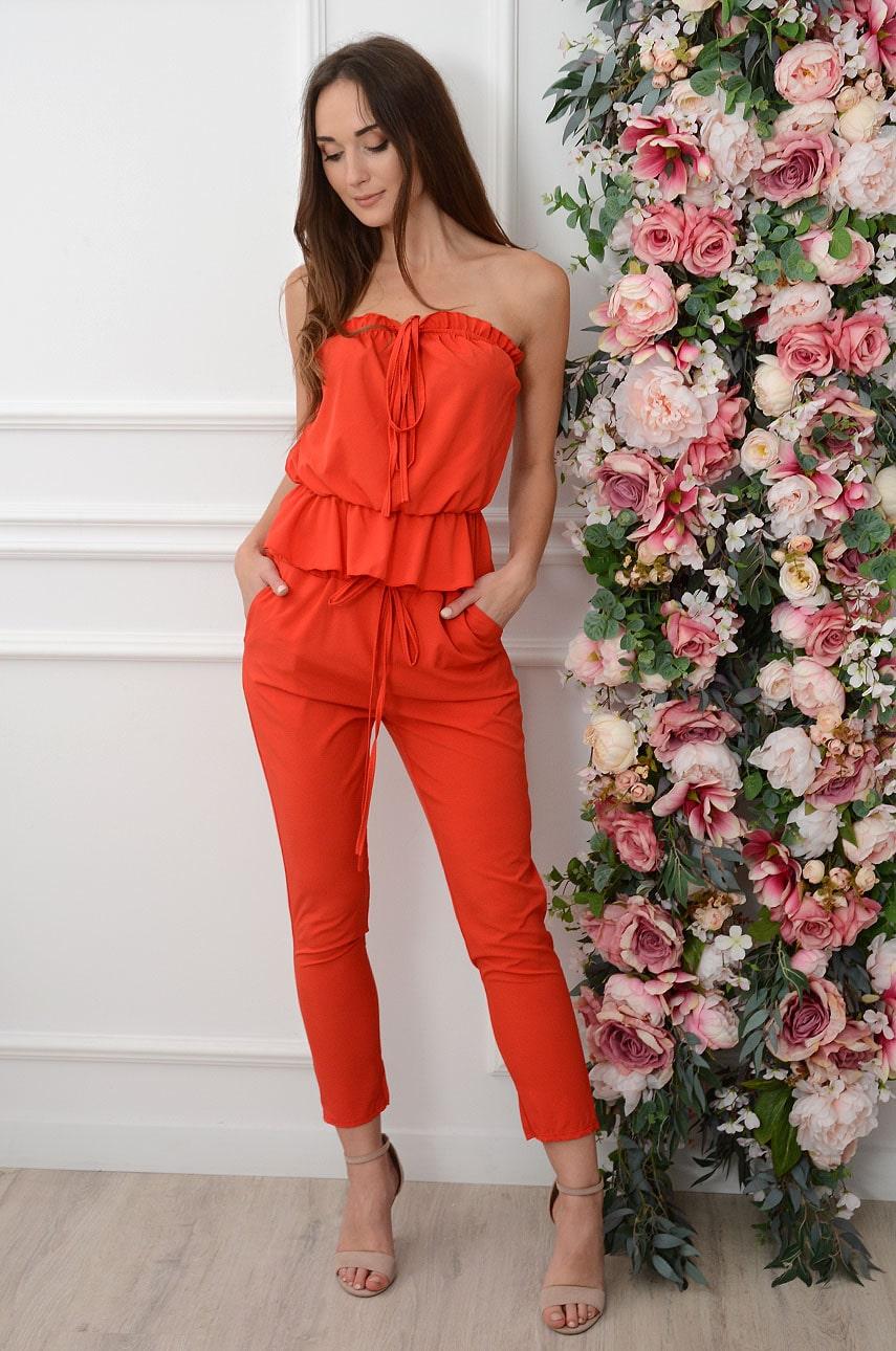 Elegancki komplet spodnie+top czerwony Lamite Rozmiar: UNI