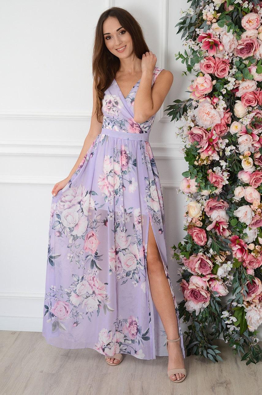 Sukienka maxi szyfonowa w kwiaty liliowa Lukrecja Rozmiar: XS