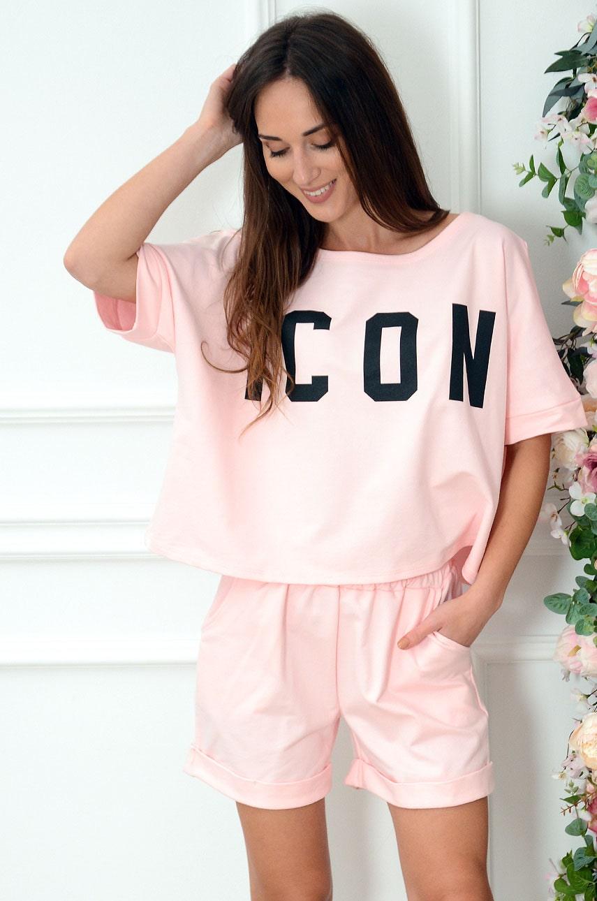 Komplet dresowy bluzka+szorty pudrowy róż Icon Rozmiar: UNI